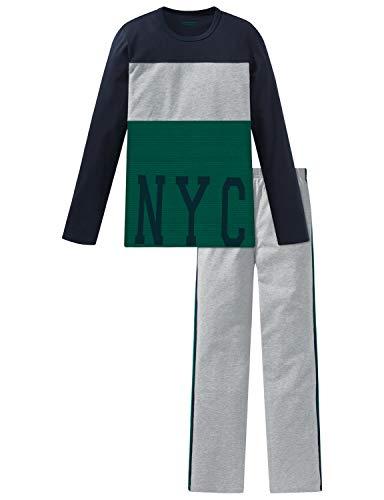 Schiesser Jungen Anzug lang Zweiteiliger Schlafanzug, Grau (Grau-Mel. 202), (Herstellergröße: 164)
