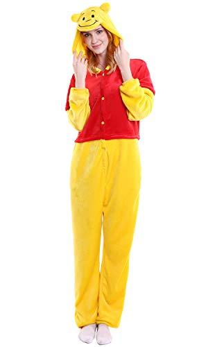 """Dolamen Erwachsene Unisex Jumpsuits, Kostüm Tier Onesie Nachthemd Schlafanzug Kapuzenpullover Nachtwäsche Cosplay Kigurum Fastnachtskostuem Xmas Halloween (Medium (61\""""-65\""""), Winnie)"""