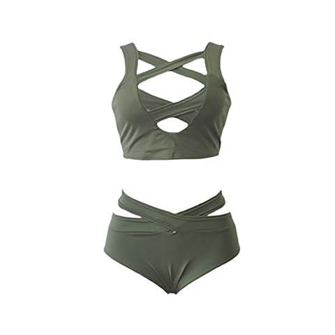 Mavis's Diary Femme Maillots de Bain Bretelle Bandage 2 Pièces Triangle Polyester Bikini Swimwear Swimsuit Beachwear