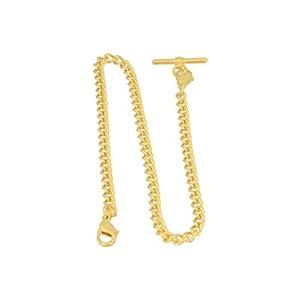 Albert Kette, Taschenuhrkette für Taschenuhr mit T - Bar Endstück und 2 Karabiner, an Weste, Knopfloch vergoldet