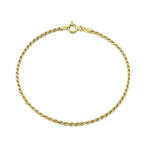 Amberta® Bijoux - Bracelet - Chaîne Argent 925/1000 - Plaqué Or 18K - Maille Corde - Largeur 1.5 mm - Longueur 18 19 cm (19cm)