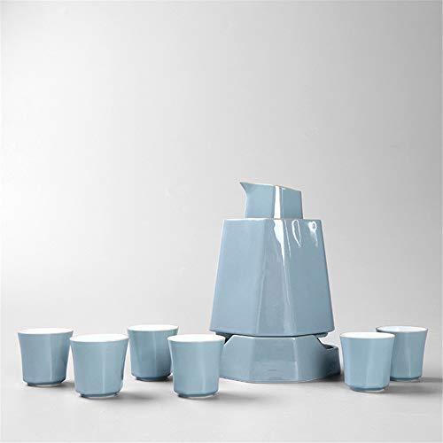 MIRUIKE Japanisches Keramik-Sake-Set mit Sake Warmer Sake Pot,Blue -