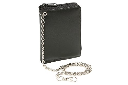 Price comparison product image Wallet with side zip pocket and Chrome-Chain LEAS,  Genuine Leather
