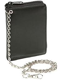 Portefeuille avec compartiment à fermeture éclair e avec la chaîne LEAS, cuir véritable, noir - ''LEAS Chain-Series''