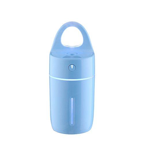 elecfan Mini USB Luftbefeuchter mit LED-Nachtlicht, Tragbare Dekorative Aroma-Diffusor mit Griff, Luft Feuchtigkeitsspendende Ultraschall-Luftbefeuchter für Zuhause, Büro, Auto, Reisen - Blau