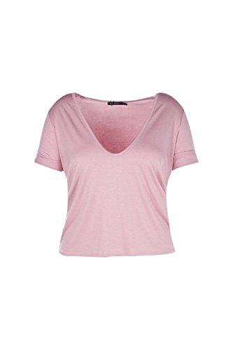 Femmes Nu Steph T-shirt Surdimensionné À Col Extrêmement Dégagé Devant Nu
