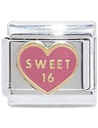 Sweet 16 Heart Italian Charm 9mm Classic Size