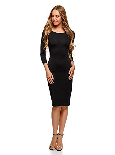 oodji Ultra Mujer Vestido con Escote Barco (Pack de 2), Negro, ES 38 / S
