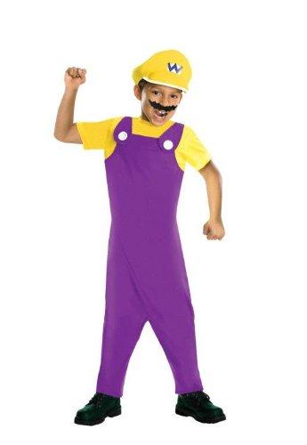 Super Mario Bros. Kinder Kostüm Wario Gr. 8 bis 10 - Wario Kostüm Zubehör