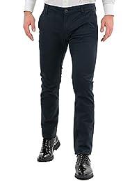 Pantaloni Uomo Elegante Chino Classico Slim Fit Blu Nero Bordeaux Verde  Tasca America Stretti Pantalone Cotone 9119d99d1c13