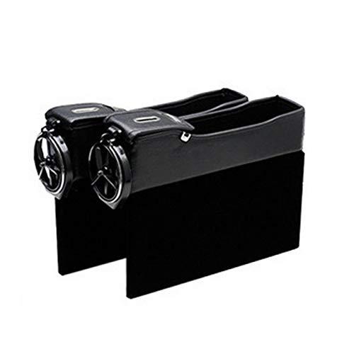 Elviray Doppelte USB-Aufladung Seitliche Aufbewahrungssteppbox für Autositze Aufbewahrungsbox aus Leder Mit Getränkehalter Agile Stereo