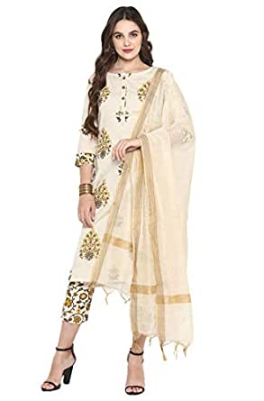Janasya Women's Cream Pure Cotton Kurta With Pant And Dupatta
