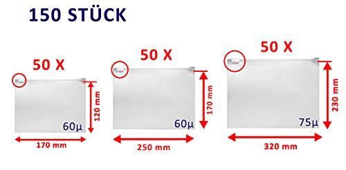WeltiesSmartTools Set aus Druck-/Gleitverschlussbeutel/Zipbeutel je 3 Sorten in 3 verschiedenen Größen (Set aus GVB 170x120 und 250x170 und 320x230 je 50 Stück - 60-75µ)