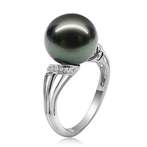Aeici Ringe Damen mit Stein Ring 925 Vintage Perle CZ Silber-Graviert Größe 62 (19.7) (Ring Master Adult Kostüm)