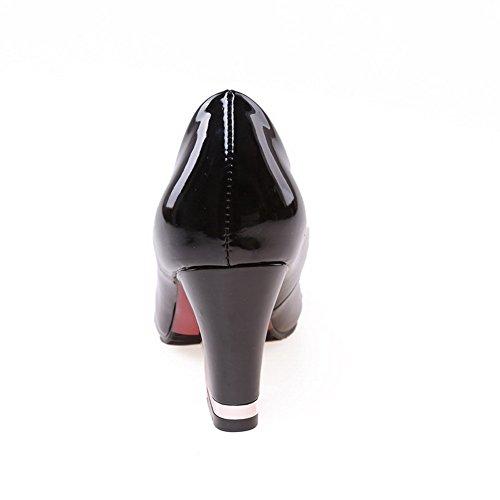 VogueZone009 Damen Lackleder Ziehen Auf Spitz Zehe Hoher Absatz Rein Pumps Schuhe Schwarz