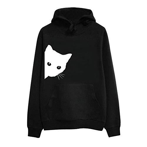 TianWlio Damen Hoodie Frauen Langarm Katze Print Hoodie Sweatshirt mit Kapuze Pullover Tops Bluse