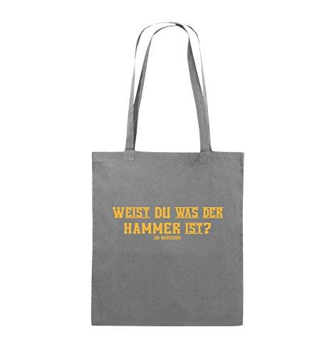 Comedy Bags - WEIST DU WAS DER HAMMER IST? - Jutebeutel - lange Henkel - 38x42cm - Farbe: Schwarz / Silber Dunkelgrau / Gelb