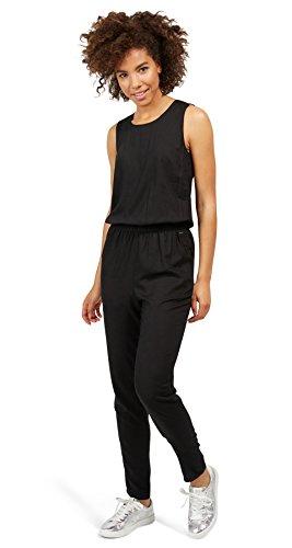 TOM TAILOR Denim Damen Solid Jumpsuit, Schwarz (Black 2999), 38 (Herstellergröße: M)