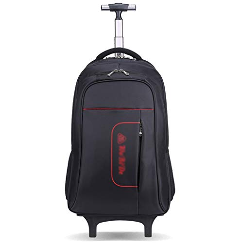 "CcBeatY 16 ""2-Rad-Trolley-Rucksack Executive Mobile Office Business-Handkabine Gepäck Laptop-Rucksack Umhängetasche (Farbe : Schwarz)"