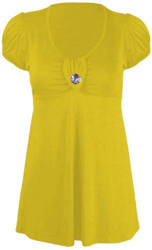 nouvelles dames plus la taille manches courtes broche en diamant dos ceinturé supérieur de robe Mustard