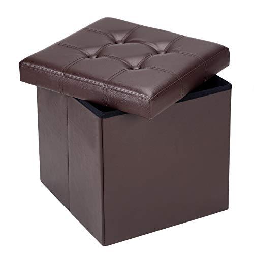 Deuba Sitzhocker mit Stauraum & Deckel Faltbar 40 L Braun Kunstleder 38x38x38cm Gepolstert Sitztruhe Truhe Fußhocker