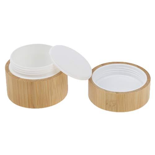 Zinn Natürlichen (KESOTO Natürliche Bambus Hölzerne Runde Creme Leere Lippenbalsam Behälter Gläser Zinn - 50 g)