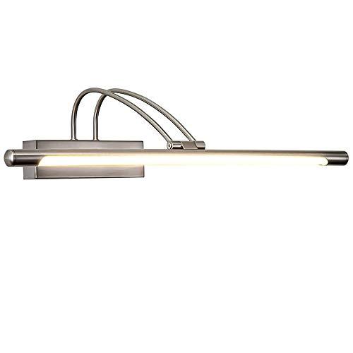8W Modern LED Metall Spiegelleuchte Spiegellampe Wandleuchte Badezimmer Spiegel Licht Wasserdicht Beleuchtung Antibeschlag Wandlampe für Badzimmer Arbeitszimmer, Warmes Licht/Gebürstetes Nickel -