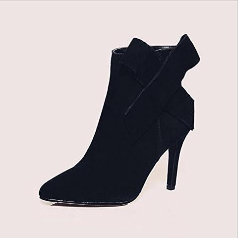 ZL Martin arcos de estilete de tacón alto de cuero real de las botas de las mujeres de los zapatos un sólido de color botas de las mujeres , black , 38