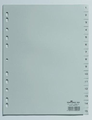 Durable 652410 Zahlenregister (A4 geprägte Taben 1-15, PP volldeckend) 10 Stück grau