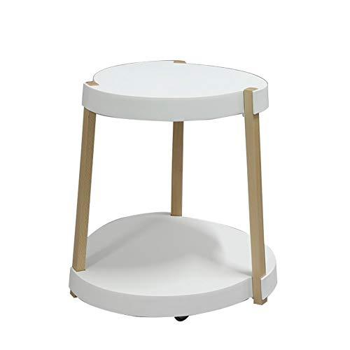 PIAOLING Mobiler Kleiner Couchtisch, moderner kreativer Freizeitmode-Eck-Multifunktions-Couchtisch auf Rädern - Weiß (Couchtisch Rädern Auf)