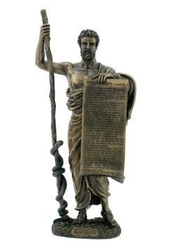 Ancient Greek Figure Hippocrates of Cos with Hippocratic Oath Cold