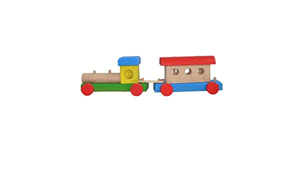 Children's Wooden Toy Train With Engine and One Wagon Total