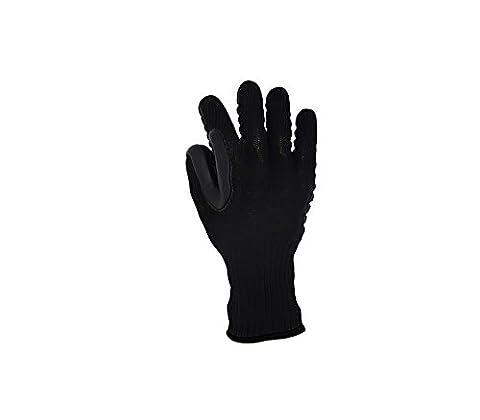 Gants anti-vibration en caoutchouc, gants de travail anti dérapant, gants de protection - Noir - Taille 9 (M)