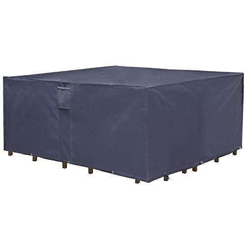 SONGMICS Schutzhülle für Gartenmöbel, 250x 200 x 80 cm, Abdeckeplane für Tisch und Stühle, Outdoor, wasserdicht, rechteckig, Grau GFC92G