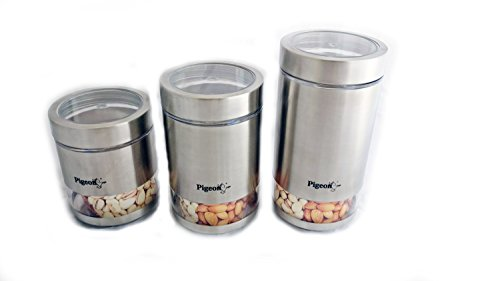 Pigeon Stainless Steel Canister Set Of 3 1000ml, 600ml and 800ml