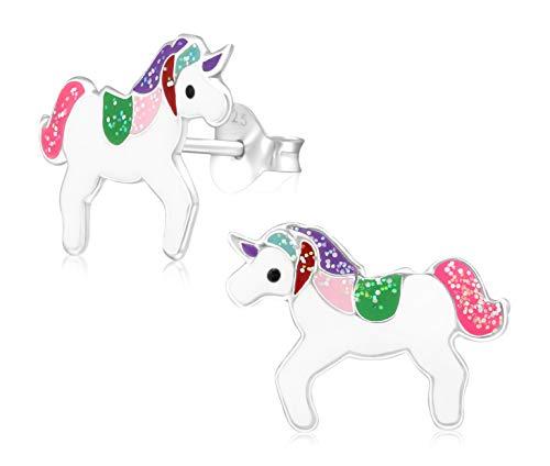 Laimons Mädchen Kids Kinder-Ohrstecker Ohrringe Kinderschmuck Einhorn Unicorn 15mm Bunt mit Glitzer aus Sterling Silber 925