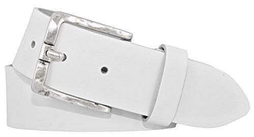 Mytem-Gear Damen Leder Gürtel Belt Ledergürtel Rindleder weiß 40 mm Damengürtel (90 cm, Weiß)