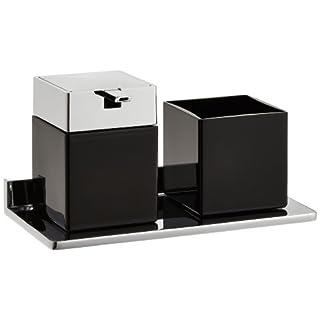 Emco 133120404 Glashalter und Seifenspender Asio chrom, Kristallglas schwarz