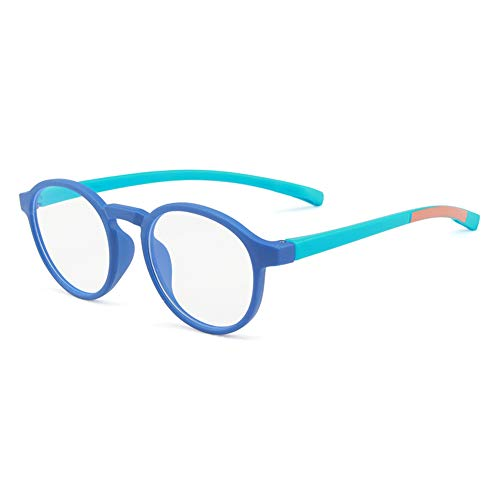 KOOSUFA Kinderbrillen Klassische Ohne Stärke Blaulichtfilter Rund Brillenfassung Brillengestell Anti Blaulicht Ultra Licht Brillen Anti Müdigkeit für Jungen und Mädchen (Blau)
