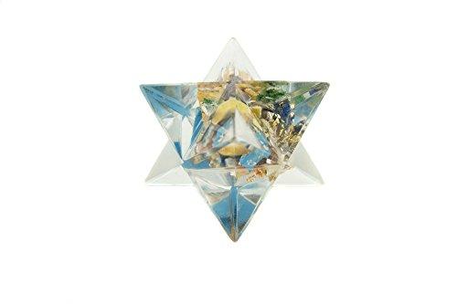 Orgonit Merkaba Stern aus Metall und 7 Edelsteinen in Chakrafarben 425