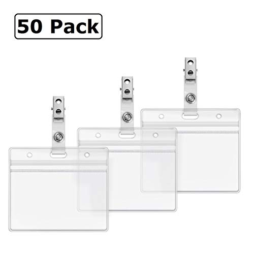 PVC Card Holder Clear Plastic Horizontal Resealable Zip Name Tag ID Holders  with Clip Badge Straps by ZHEGUI (50 Pack, Horizontal 2 3X3 5)