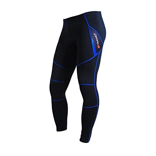 Fitsund Herren Fahrradhose Lang Winter Fahrrad MTB Hose mit Sitzpolster Radhose ( Blau, XL )