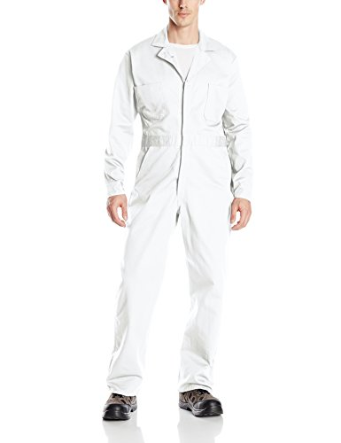 Red Kap Mens Button (Red Kap Men's Button-front Cotton Coverall, White, 40)