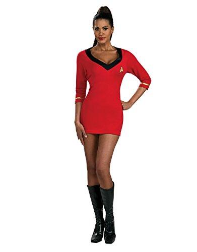 stüm Damen Kleid Uhura, Rot, Gr. M (Brustumfang 10-14, USA) 101.60, cm, Hüftumfang: 96,5 31- 86.36 cm (Star Trek Uhura Kostüm Kostüm)