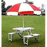 Gadgebucket New Heavy Duty Aluminium Portable Folding Picnic Table & Chairs Set With Umbrella