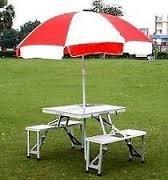 Gadgebucket New Heavy Duty Aluminium Portable Folding Picnic Table & Chairs Set With Umbrella