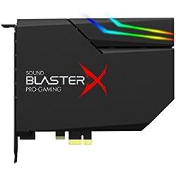 Sound BlasterX AE-5 Carte son PCIe Gaming haute résolution, DAC/Amplification des casques (16 -600 Ohms), avec une bande LED RGB incluse pour transformer visuellement votre ordinateur