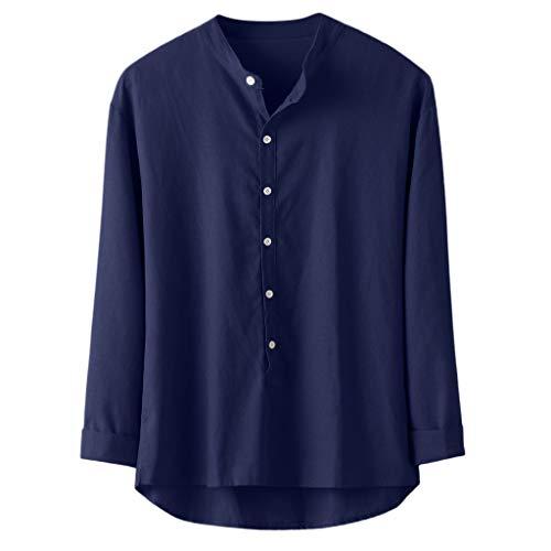Xmiral Shirt Sweatshirt Herren Einfarbig Knopf Henry Kragen Lange Ärmel Hemden Atmungsaktiv T-Shirt Outwear Männer Sommer Casual Tops(Marine Blau,4XL)