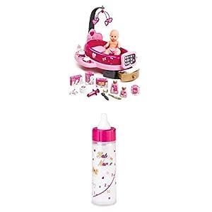 Smoby Baby Nurse Nursery electrónica rosa con muñeco y 22 accesorios, +3 años (Smoby 220317) + Biberón Mágico (220325)