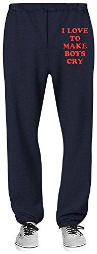 Harma Art I Love to Make Boys Cry Relaxed Jersey Pants - 70% Baumwolle, 30% Polyester - Hochwertige Sweatpants für Indoor & Outdoor Aktivitäten X-Large (Jersey Navy Boys Blue)
